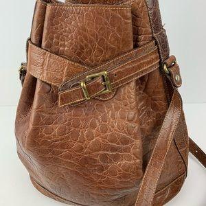 Vintage furla brown croc embossed shoulder bag
